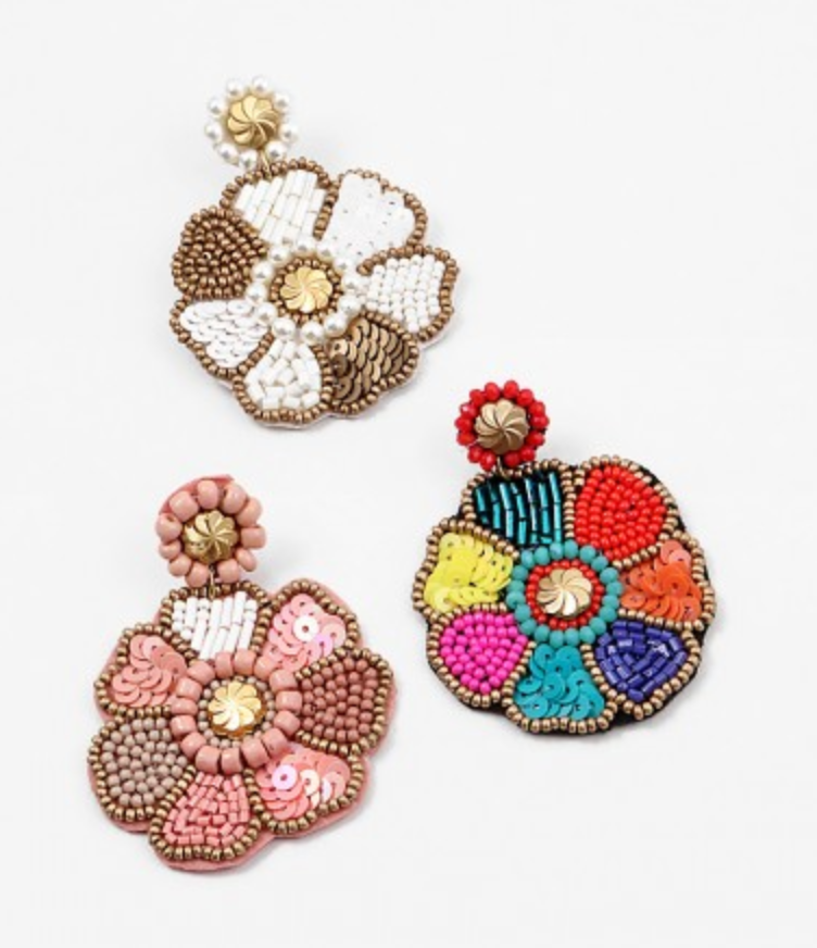 Large Beaded Flower Earring