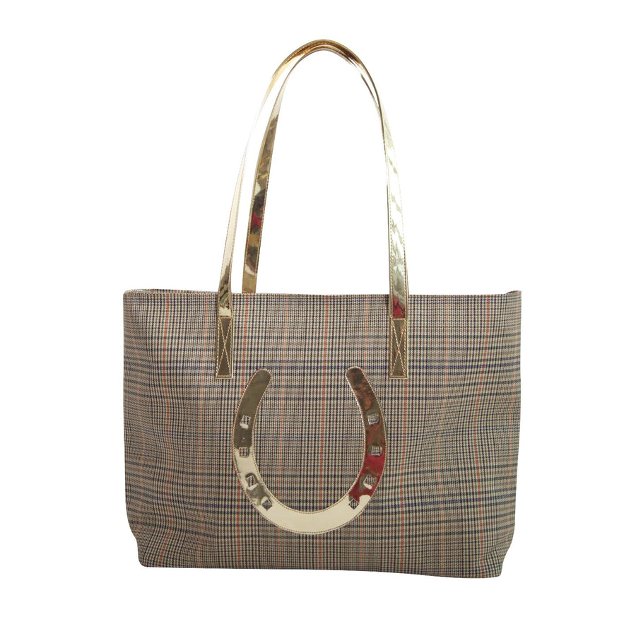 Amy tote in tattersall with shiny gold horseshoe