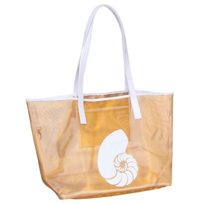 Gold Madison Mesh tote with White Nautilus Shell