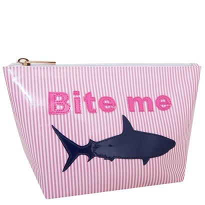Medium Avery in pink stripes with navy bite me and shark