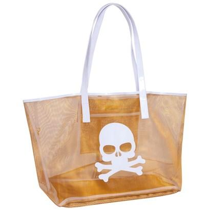 Gold Mesh Madison Tote with White Skull