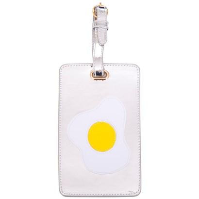 Luggage tag in shiny silver with multicolor fried egg