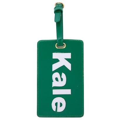 Luggage tag in hunter green with white kale