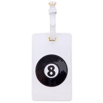 Luggage tag in white with black billiard ball