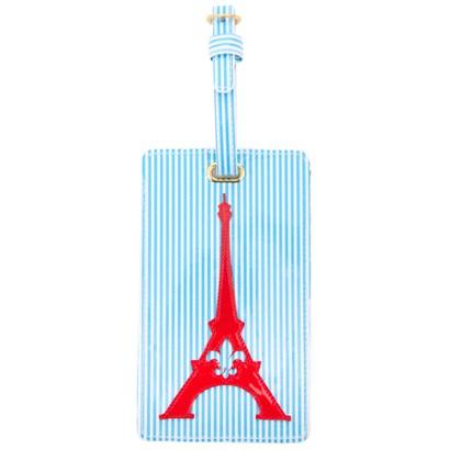 Luggage tag in blue stripes with red Eiffel tower