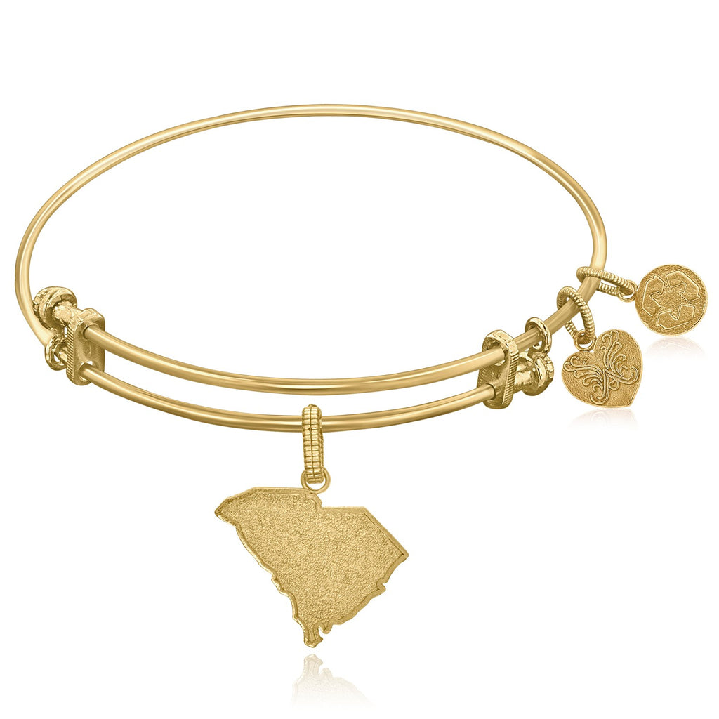 Expandable Yellow Tone Brass Bangle With South Carolina Symbol