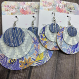 Blue/Silver/Gray Floral Circles Three Layer