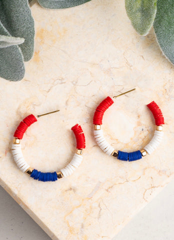 Beaded Hoop Earrings - Red White and Blue