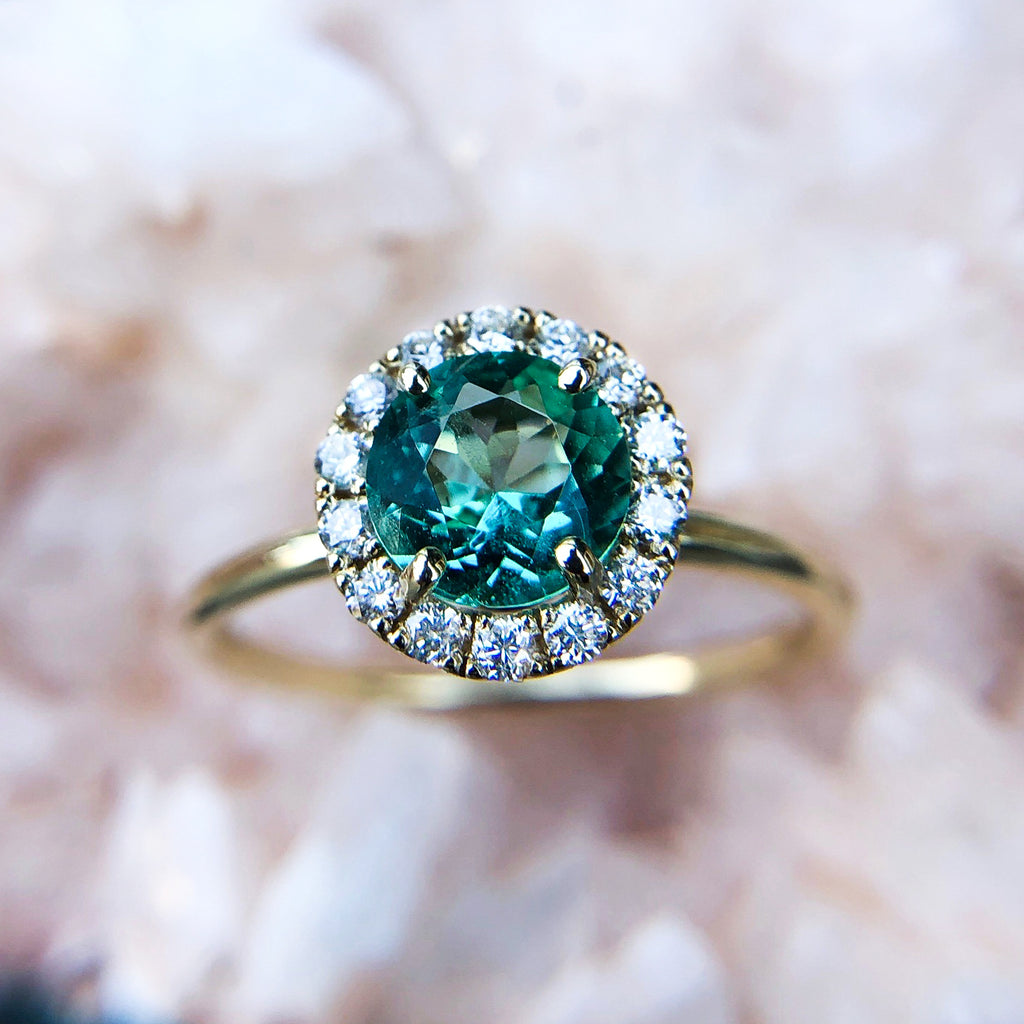 Emerald Halo Ring