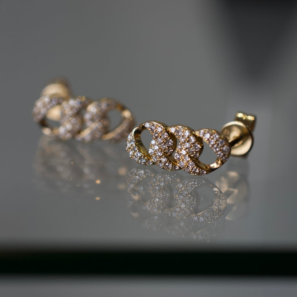 "Diamond Curb ""Pave"" Studs"