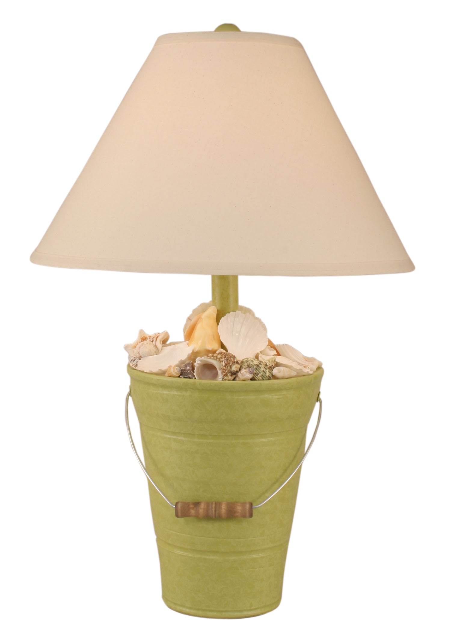 Lime Bucket of Shells Table Lamp - Coast Lamp Shop