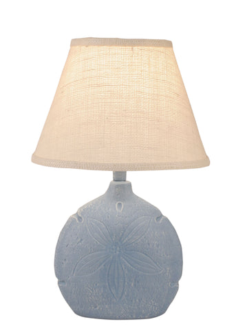 Aqua Round Accent Lamp w/Ribbed Neck- Matching Multi Shell Shade