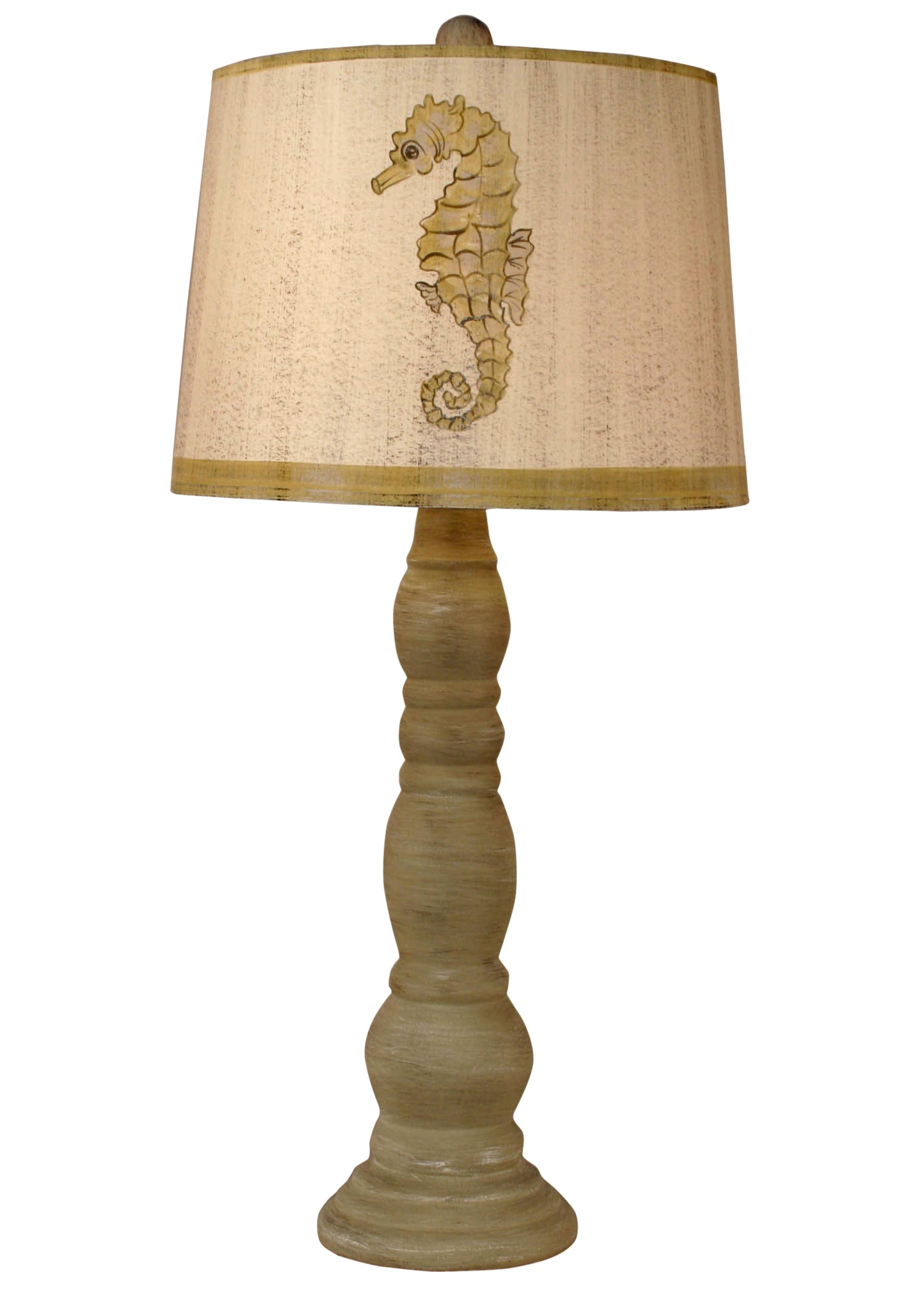 Cottage Shoreline Tan Ringed Candlestick Table Lamp w/ Seahorse Shade - Coast Lamp Shop