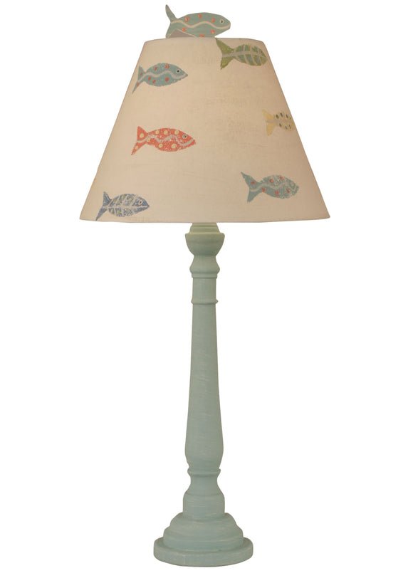 Weathered Shaded Round Buffet Lamp w/ School of Fish Shade - Coast Lamp Shop