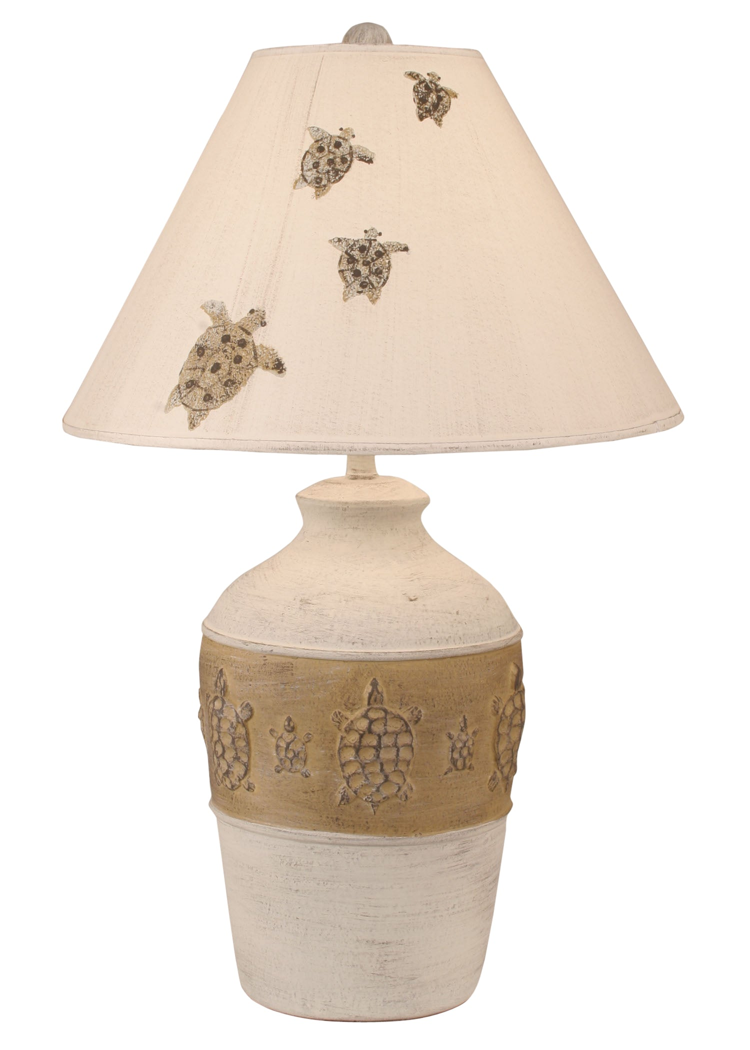 Cottage/Golden Brown Band of Turtles Table Lamp - Coast Lamp Shop