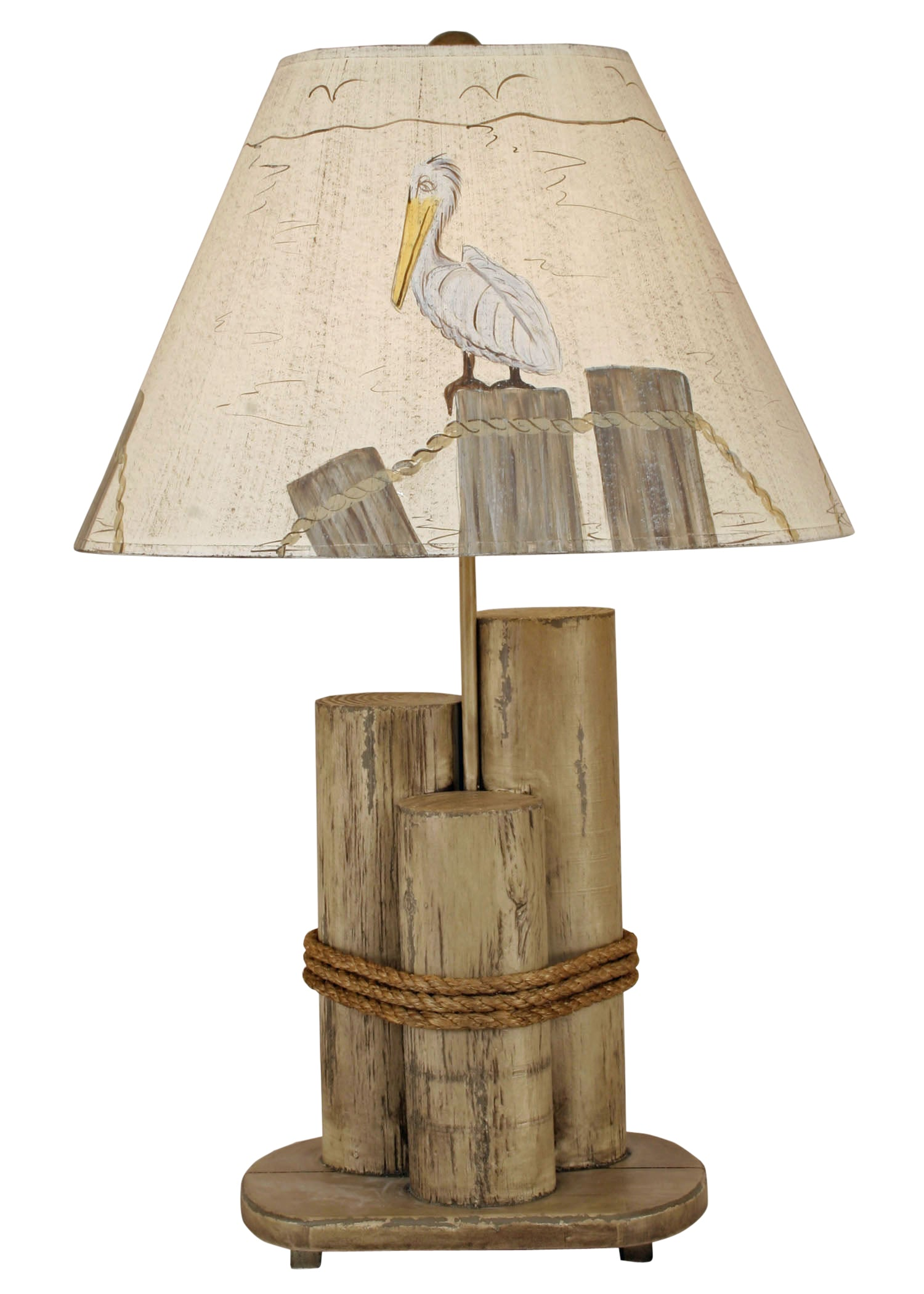 Distressed Grey Dock Pilings Table Lamp w/ Pelican Shade - Coast Lamp Shop