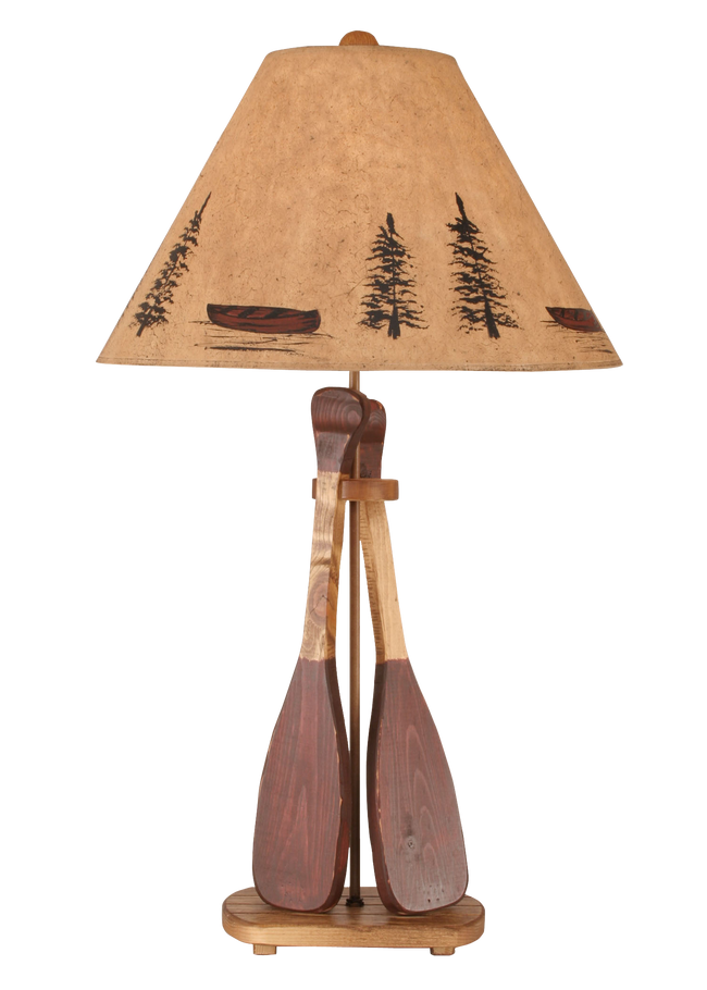 Stain/Red 2 Paddle Table Lamp - Coast Lamp Shop