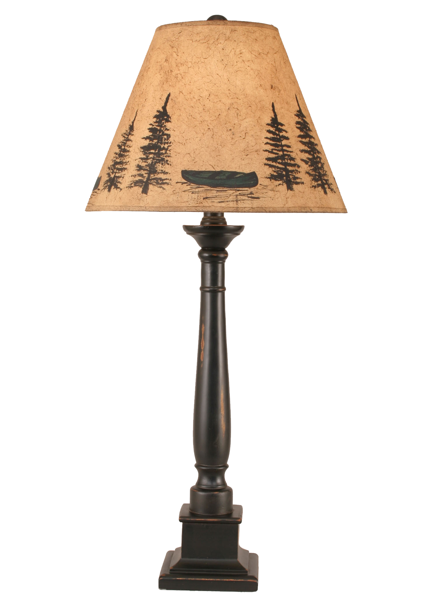 Distressed Black Square Candlestick Table Lamp w/ Canoe Scene Shade - Coast Lamp Shop