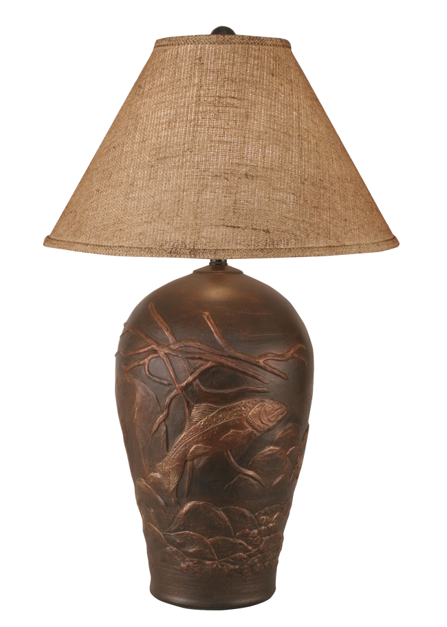 Bronze Trout Scene Table Lamp - Coast Lamp Shop