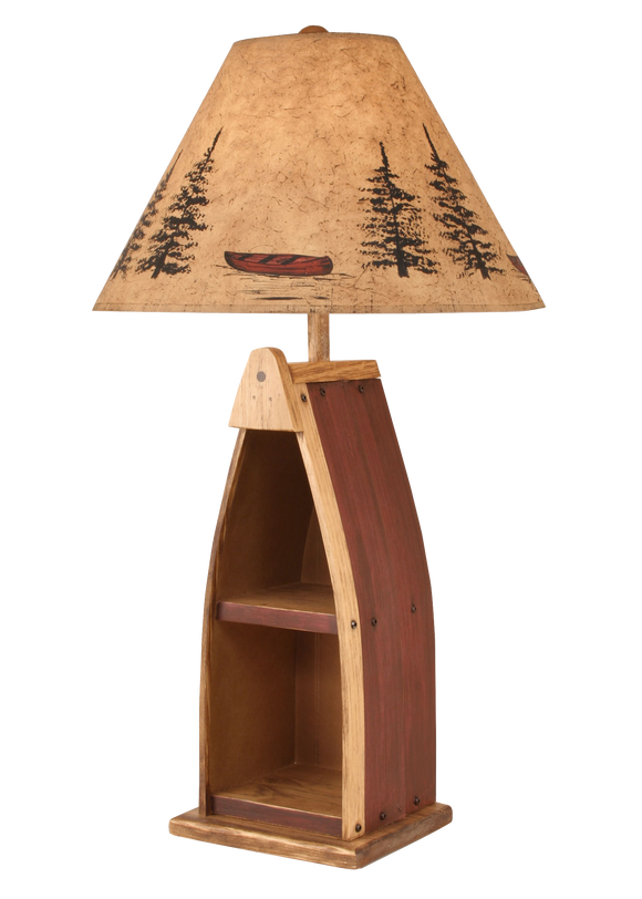 Stain/Red Wooden Boat Table Lamp - Coast Lamp Shop