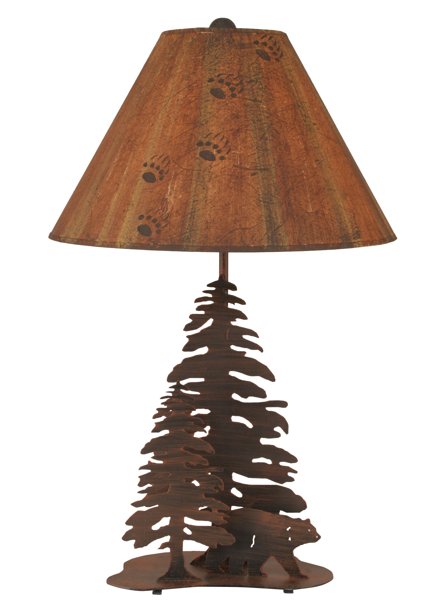 Burnt Sienna 2 Tree and Bear Table Lamp - Coast Lamp Shop