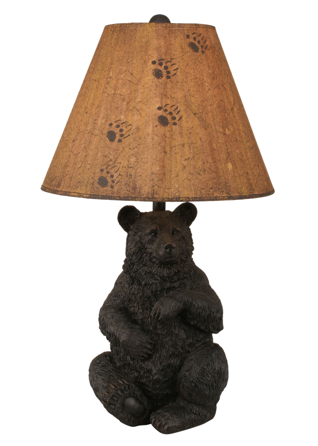 Distressed Black Sitting Bear Table Lamp - Coast Lamp Shop