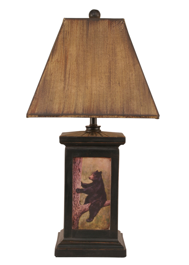 Distressed Black Square Bear in Tree Scene Table Lamp - Coast Lamp Shop