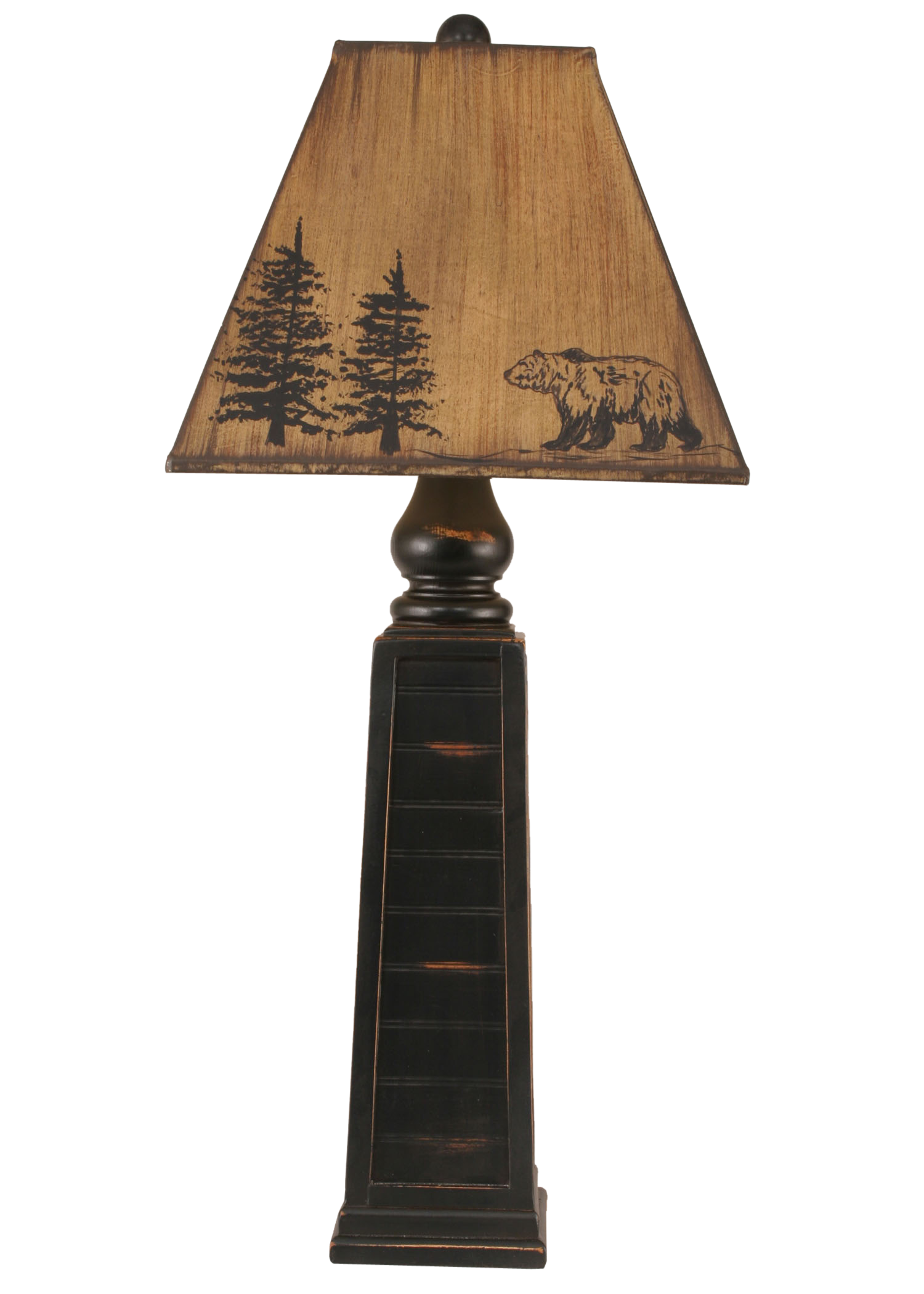 Distressed Black Pyramid Table Lamp w/ Bear Shade - Coast Lamp Shop