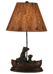 Riverwoods Bear Family in Canoe Table Lamp - Coast Lamp Shop