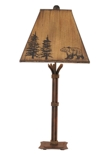 Rust Iron Table Lamp w/ Bear Shade - Coast Lamp Shop