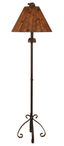 Rust Streaked Iron s Leg Floor Lamp w/ Bear Accent - Coast Lamp Shop