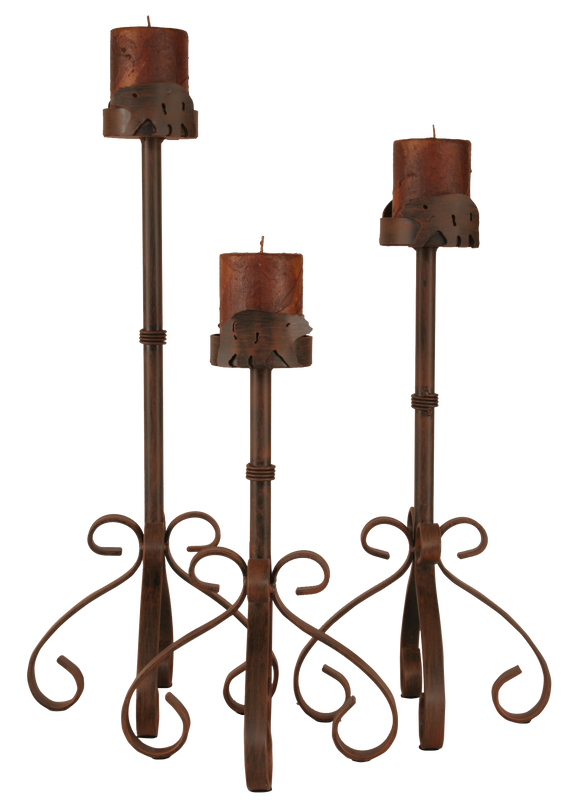 Rust Streaked Iron S Leg Candle Set w/ Bear Accent - Coast Lamp Shop