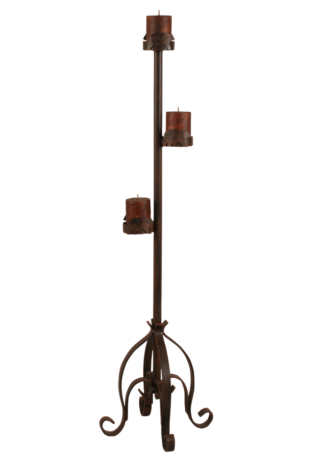 Rust Streaked Iron Pedestal Candle Stand w/ Bear Accent - Coast Lamp Shop