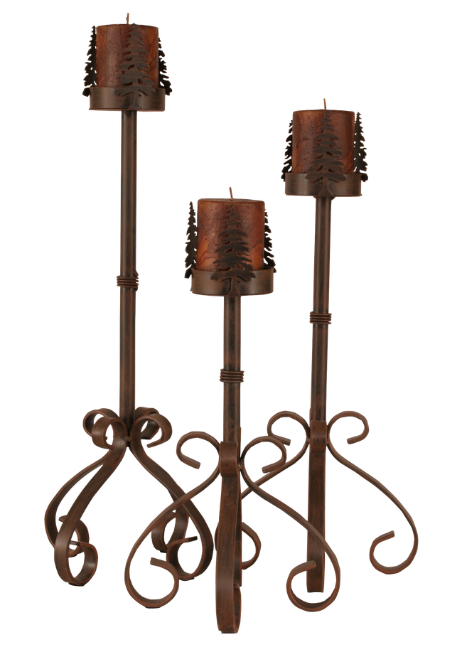 Rust Streaked Iron S Leg Candle Set w/ Tree Accent - Coast Lamp Shop