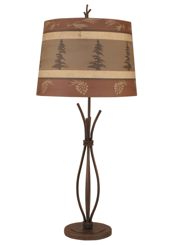 Rust Streaked Iron Stack Table Lamp w/ Tree and Pine Cone Shade - Coast Lamp Shop