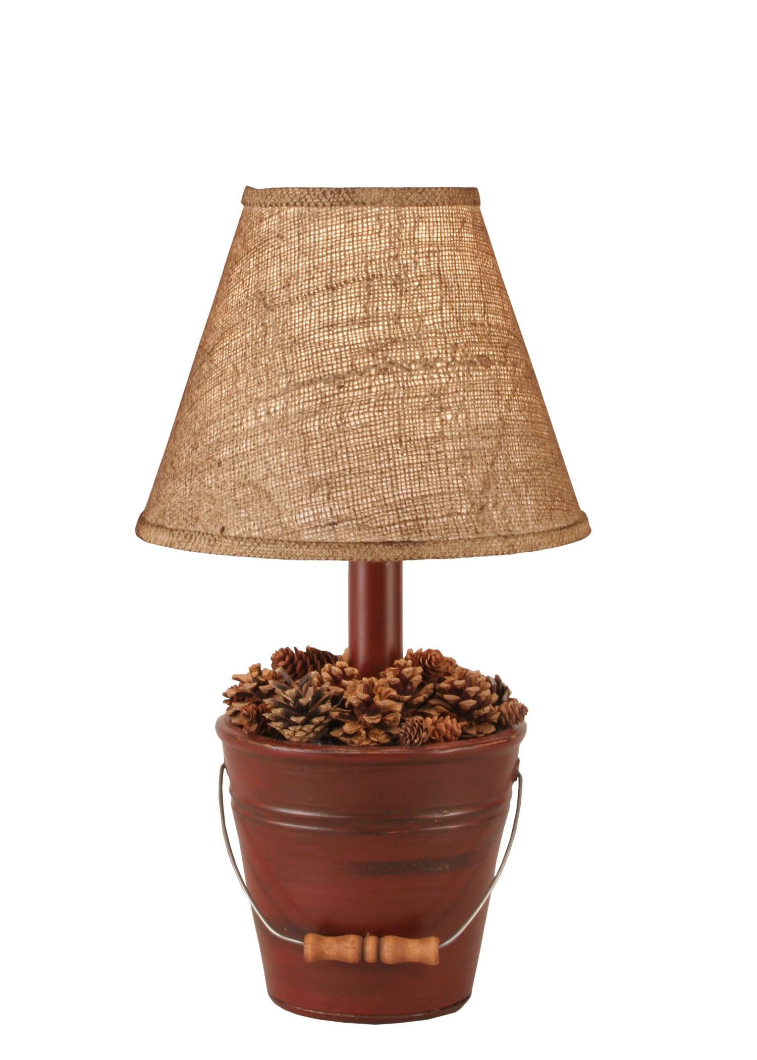 Distressed Red Mini Bucket of Pine Cones Accent Lamp - Coast Lamp Shop