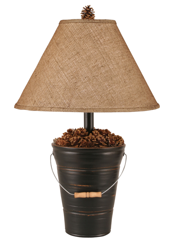 Distressed Black Bucket of Pine Cones Table Lamp - Coast Lamp Shop