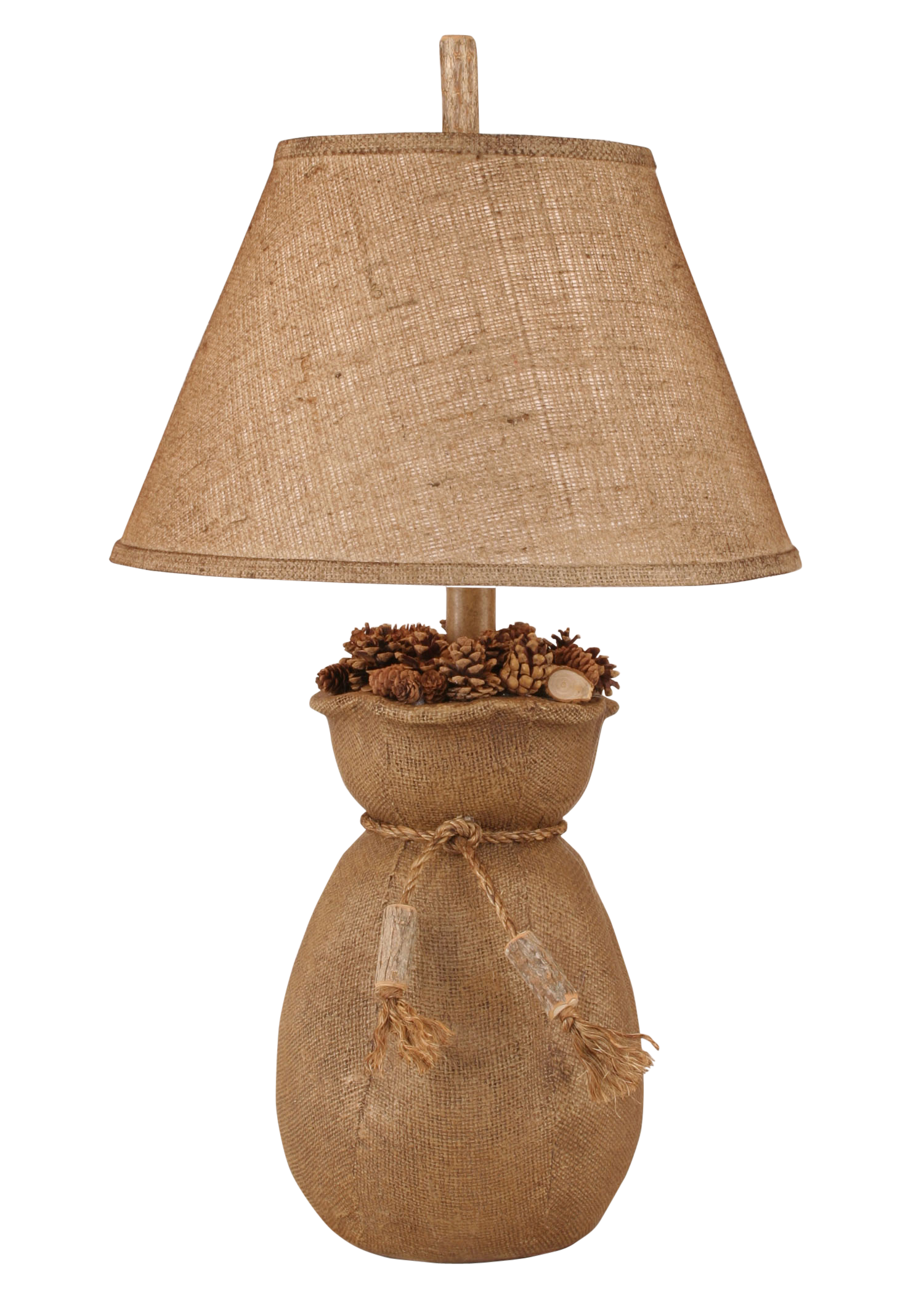 Burlap Bag of Pine Cones Table Lamp - Coast Lamp Shop