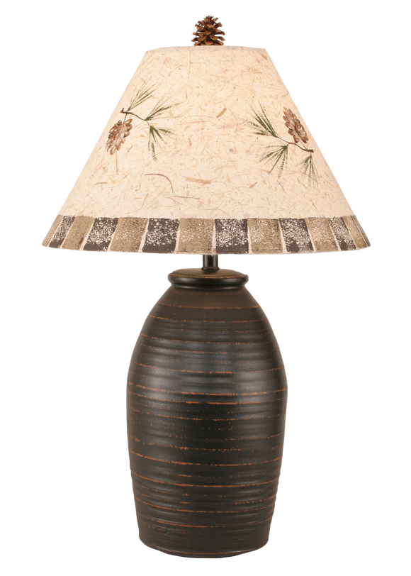 Distressed Black Ginger Jar w/ Pine Cone Shade - Coast Lamp Shop