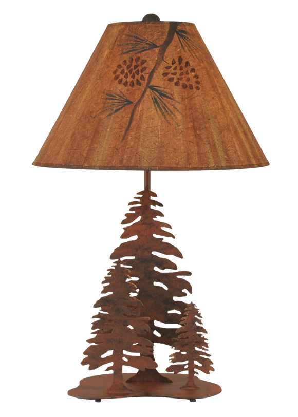 Rust 3 Tree Table Lamp w/ Pine Branch Shade - Coast Lamp Shop