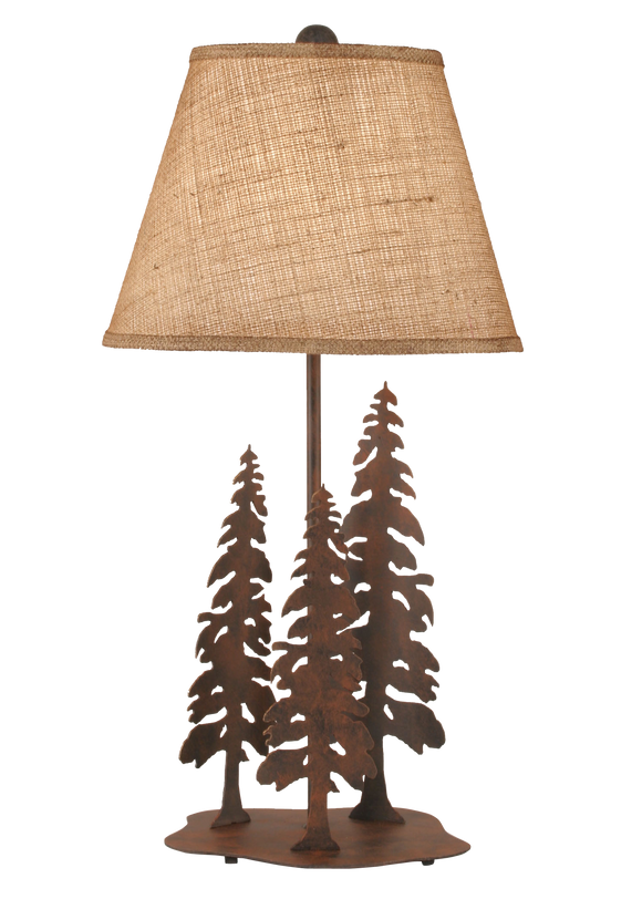 Rust Circle of Trees Table Lamp w/ Burlap Shade - Coast Lamp Shop