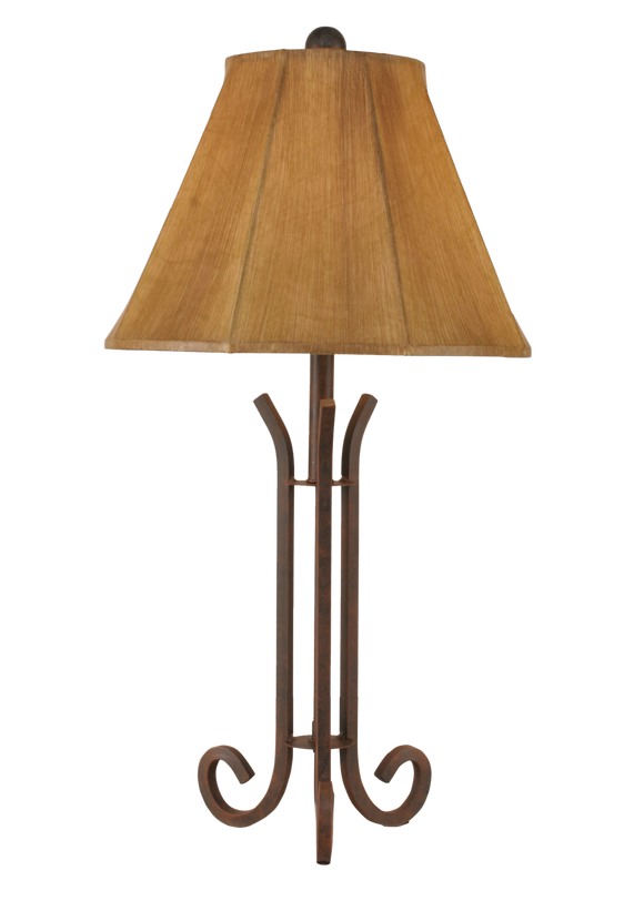 Rust Iron 3 Footed Accent Lamp w/ Faux Leather Shade - Coast Lamp Shop