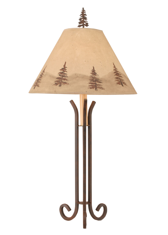Rust Iron 3 Footed Table Lamp w/ Pne Tree Shade - Coast Lamp Shop