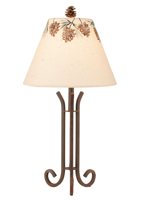 Rust Iron 3 Footed Accent Lamp w/ Pine Cone Canopy Shade - Coast Lamp Shop