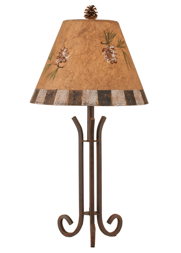 Rust Iron 3 Footed Accent Lamp w/ Pine Cone and Block Shade - Coast Lamp Shop