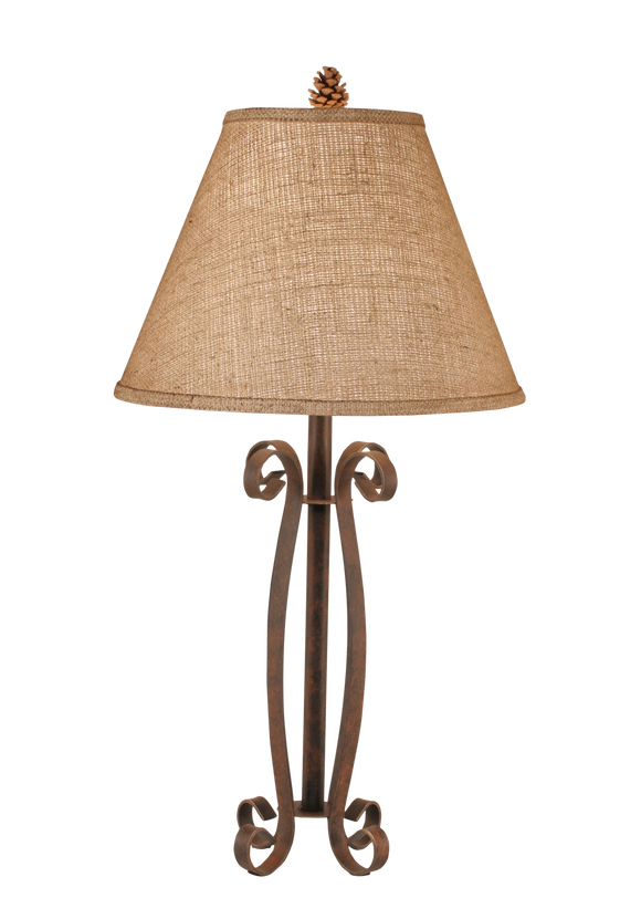 Rust Iron 4 Curls Accent Lamp w/ Burlap Shade - Coast Lamp Shop