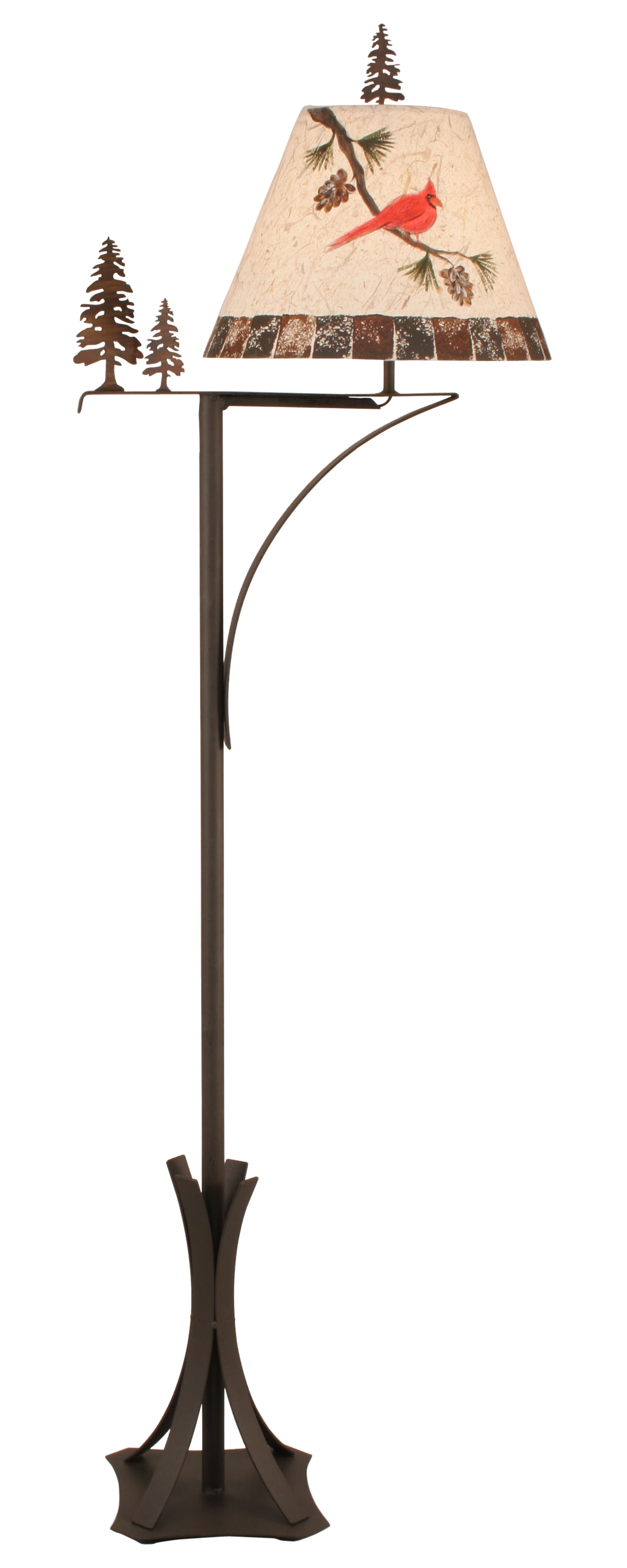 Charred Arm 2 Tree Floor Lamp w/ Cardinal Shade - Coast Lamp Shop