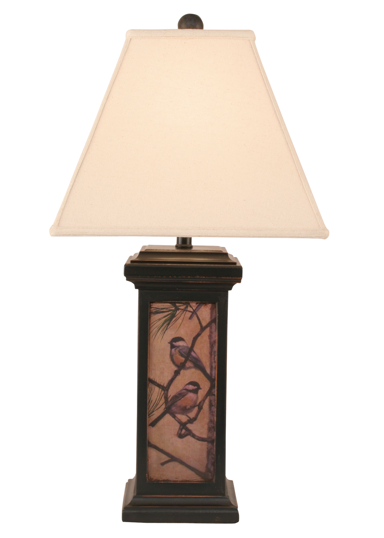 Distressed Black Small Square Chickadee Scene Table Lamp - Coast Lamp Shop