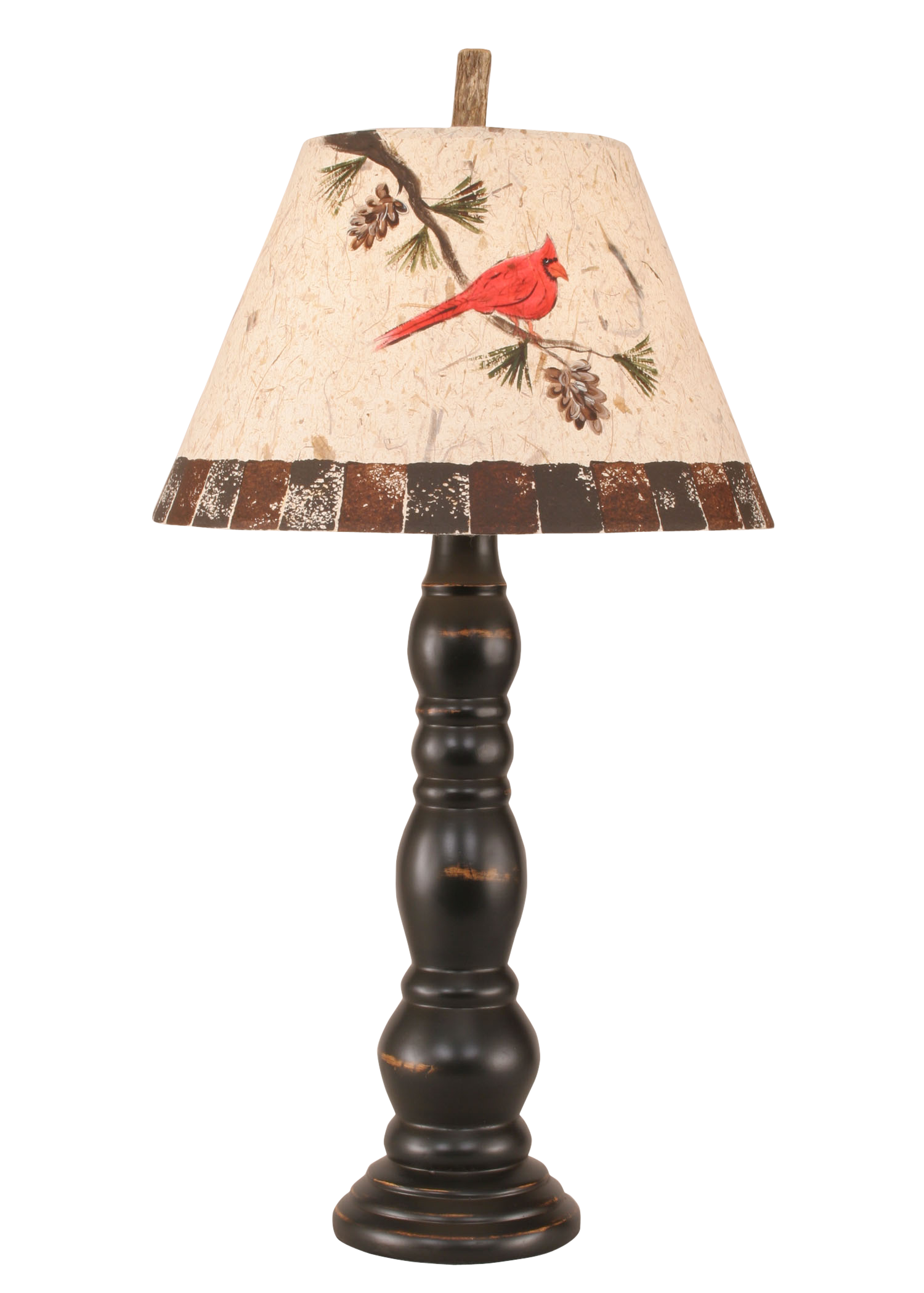 Merveilleux Distressed Black Sectioned Candlestick Table Lamp W/ Cardinal Shade   Coast  Lamp Shop