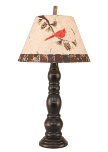 Distressed Black Sectioned Candlestick Table Lamp w/ Cardinal Shade - Coast Lamp Shop